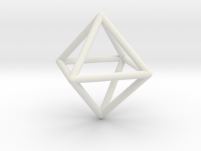 Octahedron wireframe in White Natural Versatile Plastic: Small