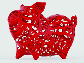 2019 HAPPY CHINESE NEW YEAR PIG in Red Processed Versatile Plastic