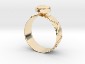 GoldRing Heart version2 in 14k Gold Plated Brass