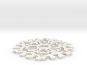 Drink Coaster - Jigsaw Interlocking- Heart Pattern in White Natural Versatile Plastic