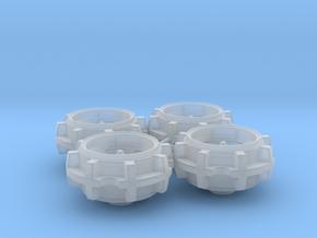 Bassett 5 Hole Diecast Wheel Set in Smooth Fine Detail Plastic: 1:24