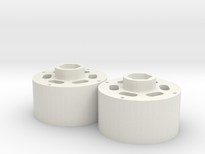 1.9 12mm hex dually hubs in White Natural Versatile Plastic: 1:10