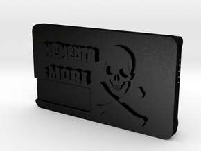 """Memento Mori"" Belt Buckle  in Matte Black Steel"