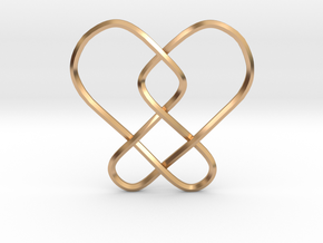 2 Hearts Knot Pendant in Polished Bronze