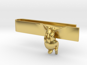 Falling Rabbit Tie Bar in Polished Brass: Medium