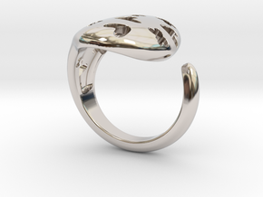 Solid Heart and X Ring. in Rhodium Plated Brass