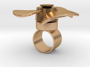 Fidget Spinner Ring in Polished Bronze (Interlocking Parts): Medium