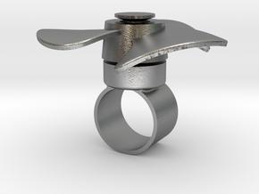 Fidget Spinner Ring in Natural Silver (Interlocking Parts): Medium