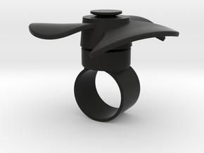 Fidget Spinner Ring in Black Natural Versatile Plastic: Medium
