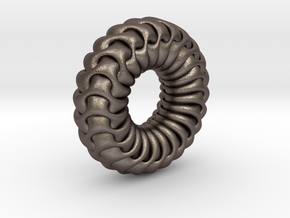Gyroid Torus in Polished Bronzed-Silver Steel
