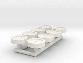 8 HO Scale Man Hole Covers in White Natural Versatile Plastic