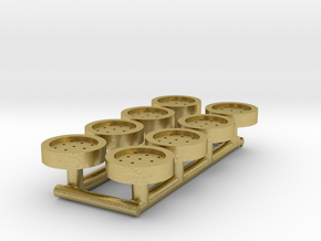 8 HO Scale Man Hole Covers in Natural Brass
