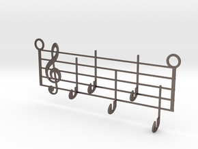 Music Key Hanger in Polished Bronzed-Silver Steel