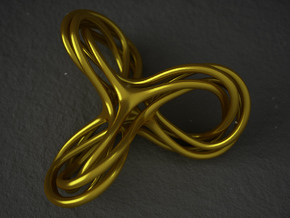 Cyclic Knot Sculpture in Polished Gold Steel