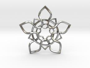 5 Petals Pendant in Natural Silver