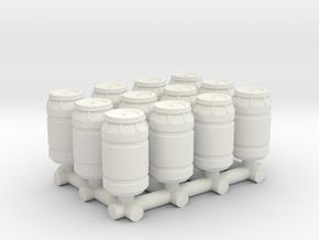 1-87 Scale Rain Barrels x12 in White Natural Versatile Plastic