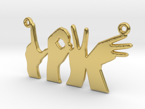 Love Hands pendant in Polished Brass