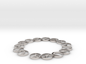 Bangle with 15 yoga poses 63.5 mm in Rhodium Plated Brass