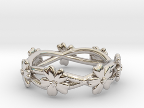 Forget Me Not Ring in Rhodium Plated Brass: 6 / 51.5