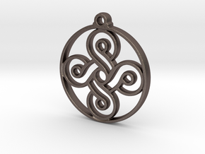 Four Leaf Clover Pendant II in Polished Bronzed-Silver Steel