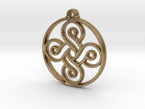 Four Leaf Clover Pendant II in Polished Gold Steel