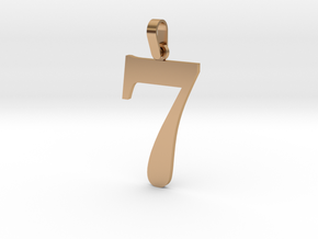 7 Number Pendant in Polished Bronze (Interlocking Parts)