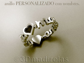 SILVER PERSONALIZED RING WITH TWO NAMES in Polished Silver