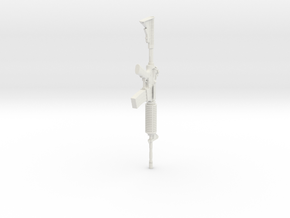 1:12 Miniature M4A1 Carbine Gun in White Natural Versatile Plastic: 1:12