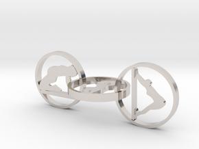3 hoop yoga earring in Rhodium Plated Brass