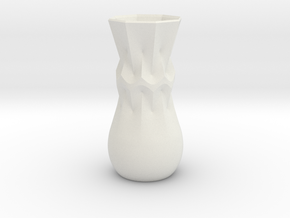 Curvilinear Flower Vase in White Natural Versatile Plastic: Extra Small