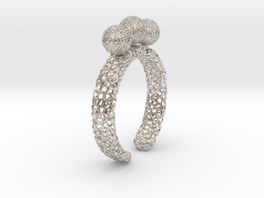 Voronoi fidget ring. Size 5 17.58 mm with three sp in Rhodium Plated Brass