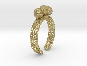 voronoi fidget ring. Size 10. Balls spin. in Natural Brass