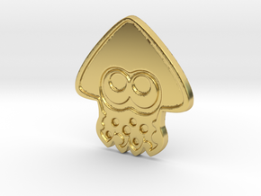 Splatoon Inkling Squid Pin in Polished Brass