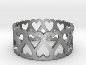 heart symmetric ring size 5 in Natural Silver