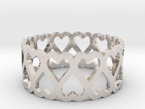 heart symmetric ring size 5 in Platinum