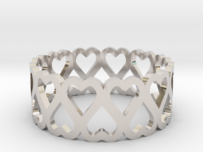 heart symmetric ring size 6.5 in Rhodium Plated Brass