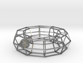 cage ring frame with voronoi ball size 10 in Natural Silver (Interlocking Parts)