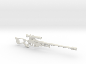 1:12 Miniature Sniper Rifle - Fallout: Las Vegas in White Natural Versatile Plastic: 1:12