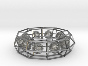 cage ring frame with voronoi ball size 10 (1) in Natural Silver (Interlocking Parts)