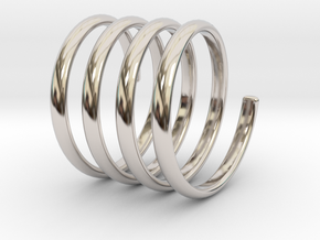 spring coil ring size 5 in Rhodium Plated Brass