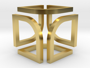 Cube Pendant Type B in Polished Brass: Small