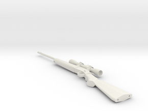 1:12 Miniature .243 Hunting Rifle in White Natural Versatile Plastic