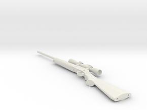1:12 Miniature .243 Hunting Rifle in White Natural Versatile Plastic