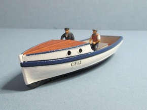 4 mm Scale Fishing Boat with Cabin in White Natural Versatile Plastic