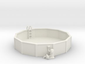 15 Ft. Pool With Ladder & Pool Pump 1-87 HO Scale in White Natural Versatile Plastic