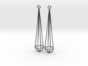 Narrow Drop in Fine Detail Polished Silver: Medium