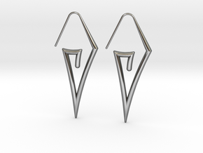 Sharp Triangle Hoop in Fine Detail Polished Silver