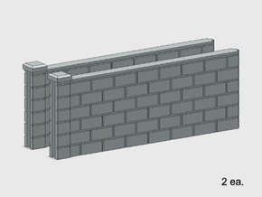 5' Block Wall - 2-Med Jointed Sections in White Natural Versatile Plastic: 1:87 - HO