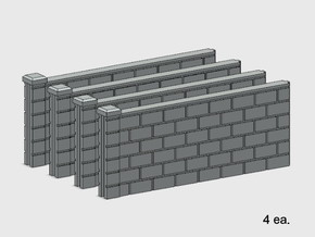 5' Block Wall - 4-Med Jointed Sections in White Natural Versatile Plastic: 1:87 - HO