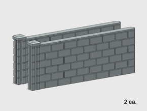 5' Block Wall - 2-Med L/S Jointed Intersections in White Natural Versatile Plastic: 1:87 - HO